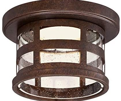 Design House 587212 Washburn Small 1 Rustic Bronze Integrated LED Outdoor Flush Mount Ceiling Light, 10″, 4 Piece