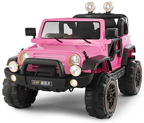 Fitnessclub Electric Cars for Kids, 12V Powered Kids Ride On Car with 2.4 GHZ Bluetooth Remote Control, LED Lights, MP3 Player, 3 Speeds (Pink2)