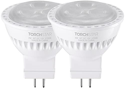 TORCHSTAR LED MR11 Bulbs, 25W Halogen Equivalent, 3W 2700K Soft White, Non-Dimmable, Outdoor Landscape Lighting Bulb, GU4 Base Spotlights, AC/DC 12V Low Voltage Recessed Track Lights, Pack of 2