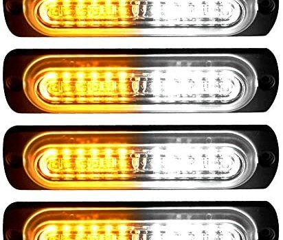 YITAMOTOR 4 inch Amber White Surface Mount Grill Light Head, 12W Bright LED Mini Strobe Light Bar Compatible with 12V-24V Construction Vehicle, Tow Truck Van (pack of 4)