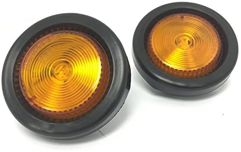 MAXXHAUL 80652 2″ LED Round Clearance Side Marker Light Amber with Grommet Trailer Truck RV,2 Pack
