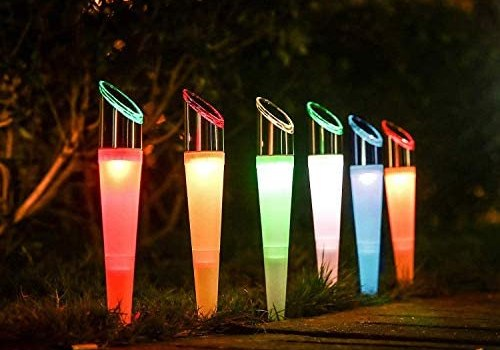 Solar Lights Outdoor Solar Garden Pathway Lights LED Landscape Lighting Waterproof for Path Lawn Patio Yard Walkway Driveway,4 LED Bulbs& 2 Lights Effect,White&Color Changing Lights(6pack)