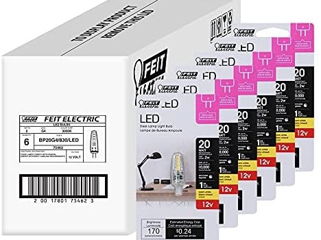 Feit Electric BP20G4/830/LED/6 2W 20W Equivalent Dimmable 170 Lumen Bi-Pin 12V LED G4 Base Capsule Specialty Light Bulb, 1.5″ H x 0.5″ D, 3000 (Warm White), 6 Piece