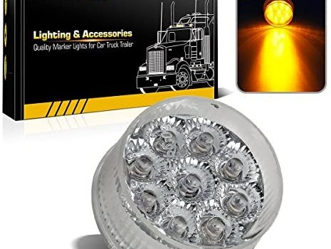 Partsam 20) 2in. Round Side Marker LED Truck Lights Clearance 9 Diodes Reflector Trailer, Sealed Clear/Amber 2″ Round LED Trailer Side Marker Lights, Miro-Reflex faceted reflector design
