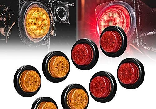 8pc 2″ Amber + Red Round Trailer LED Clearance Marker Lights [DOT Approved] [Reflector Lens] [Grommet] [Flush-Mount] [Waterproof IP67] Marker Clearance Lights for Trailer Truck