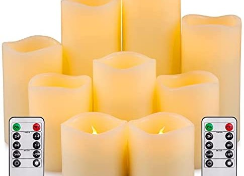Yutime Large Flameless Candle Set of 9 (D 3″ x H 3″ 4″ 5″ 6″ 7″ 8″) Battery Operated LED Pillar Real Wax Candles with Remote Control Timer
