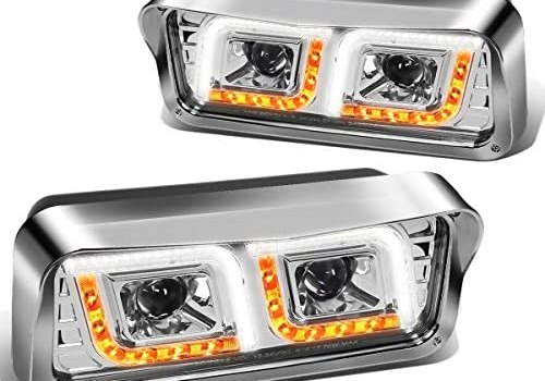 Pair Chrome LED DRL Turn Signal Dual Projector Headlight Lamps Compatible with Peterbilt 365 Western Star Kenworth 81-91