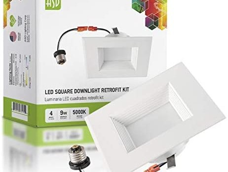 ASD Retrofit Square LED Recessed Lighting 4 Inch LED Can Light Dimmable, Baffle Trim, 9W (40W Replace), 600Lm, CRI 90, Wet Rated, Daylight 5000K, Square LED Downlight, Energy Star, ETL