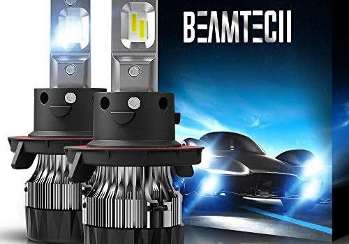 BEAMTECH H13 LED Bulbs, 10000LM 60W 6500K Extremely Super Bright 9008 30mm Heatsink Base CSP Chips Conversion Kit,Xenon White Small Size Halogen Replacement