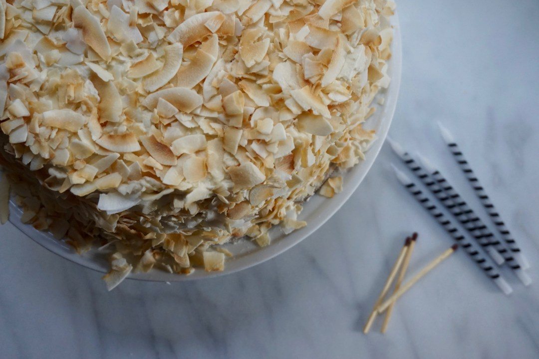 Fabulous Coconut Vanilla Bean Birthday Cake Lentinealexis Personalised Birthday Cards Paralily Jamesorg