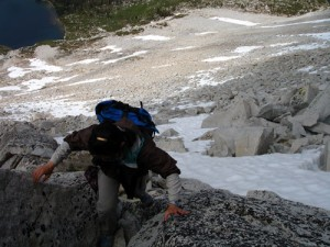 Theresa hiking the ridge to Sheep Peak