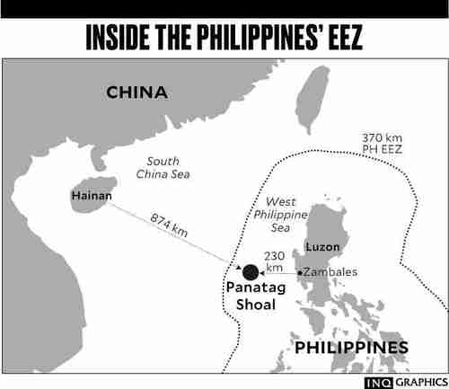 Map showing that the Scarborough (Panatag) Shoal is far from China, but within the Philippines EEZ (Inquirer)