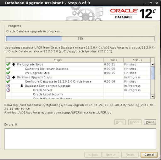 Oracle 12.2 DBUA Database Upgrade