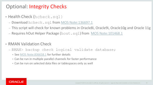 MOS Note:136697.1 - New HCHECK.SQL for Oracle Database 12c