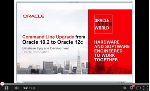Thank you for coming to our workshops :-)<BR>And here's the <I>Upgrade to 12c Viewlet</I>
