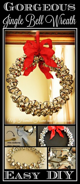 Gorgeous DIY Jingle Bell Wreath on MyHumbleHomeandGarden.com