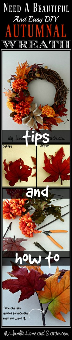 Beautiful and Easy DIY Autumnal Wreath-Tips and How To on MyHumbleHomeandGarden.com