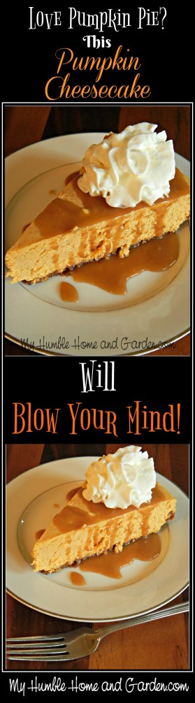 Love Pumpkin Pie? This Pumpkin Cheesecake Will Blow Your Mind! on MyHumbleHomeandGarden.com
