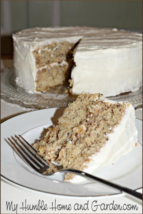 Banana Walnut Cake With Cream Cheese Frosting on MyHumbleHomeandGarden.com