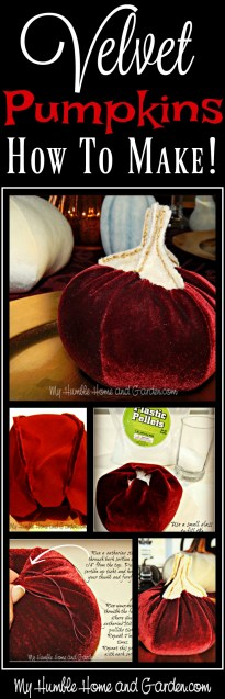 Velvet pumpkins -How To Make on MyHumbleHomeandGarden.com