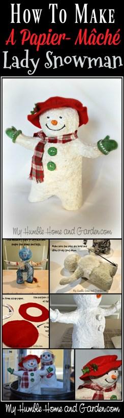 How To Make APapier-mâché Lady Snowman on MyHumbleHomeandGarden.com