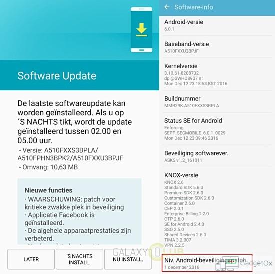 Galaxy A5 2016 december update