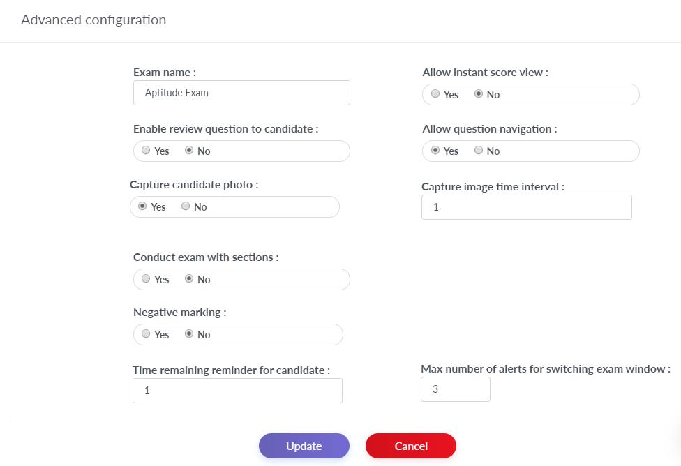 Advance Online Exam Configuration
