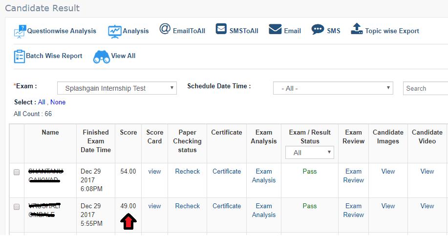 View Online Exam Result