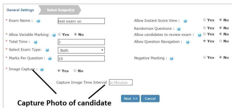 Capture Photo of Remote Online Exam Candidate
