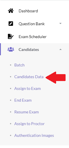 Import Candidate Online Exam Menu