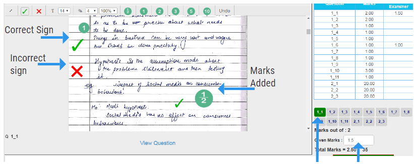 Answer sheet with Annotations added