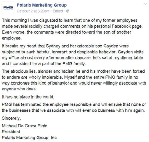 Polaris Markting Group apology Gerod Roth Cayden Jenkins