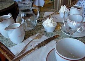 Pastries and hot chocolate at Angelina