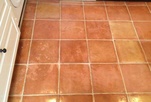 Patchy Terracotta Tiles Before