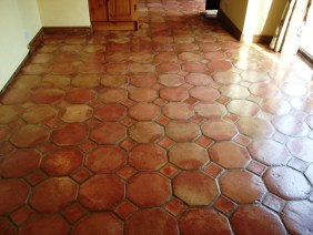 Terracotta Tiled Floor in Great Bourton After Cleaning 1