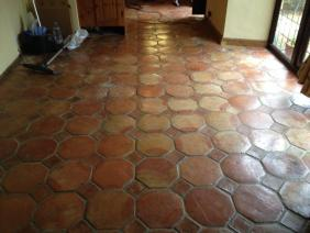 Terracotta Tiled Floor in Great Bourton Before Cleaning 1