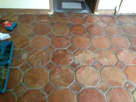 Terracotta Tiled Floor in Great Bourton Before  Cleaning 2