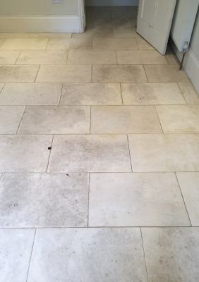 White Limestone Floor Wallingford Before Cleaning