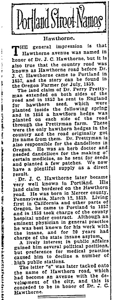 Portland Street Names - November 5th, 1921 - Hawthorne