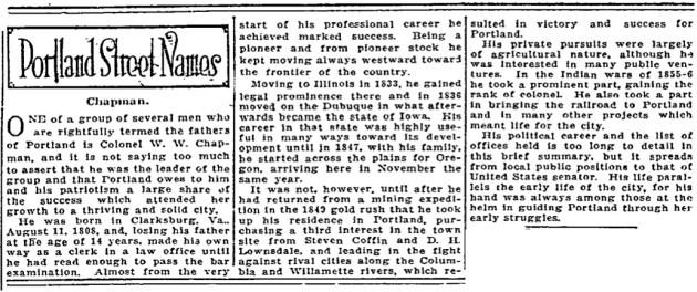 Portland Street Names - November 14, 1921 - Chapman