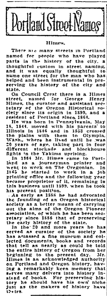Portland Street Names - November 16, 1921 - Himes