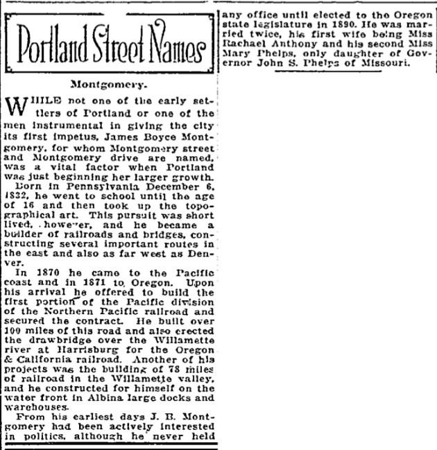 Portland Street Names - November 23, 1921 - Montgomery
