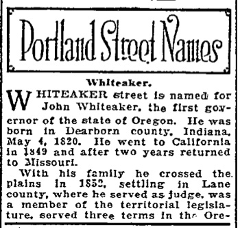 Portland Street Names - November 25, 1921 - Whiteaker