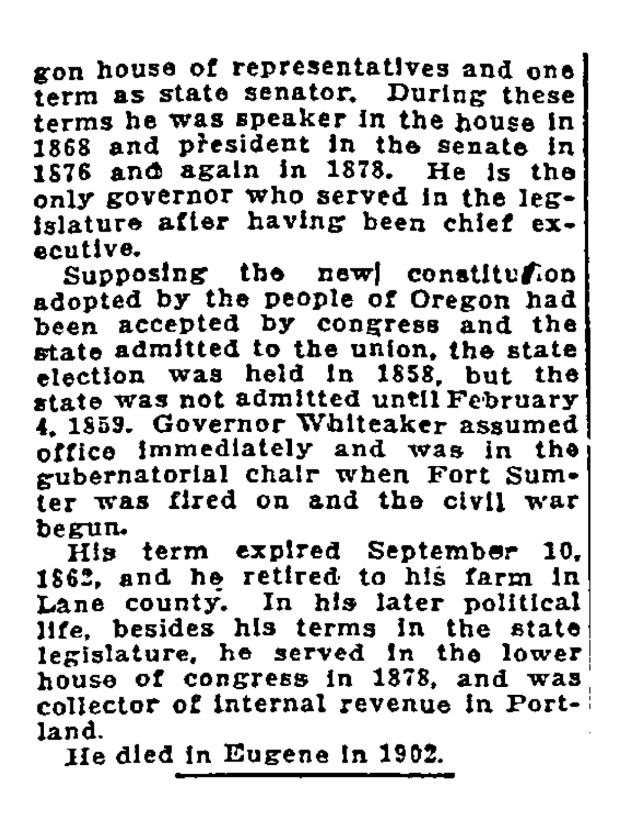 Portland Street Names - November 25, 1921 - Whiteaker