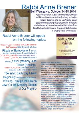 Rabbi Anne Brenner flyer (English version)