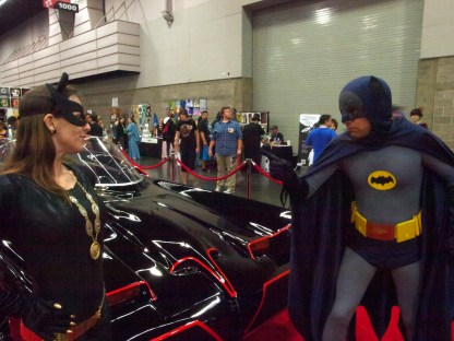 Batman and Catwoman with Batmobile