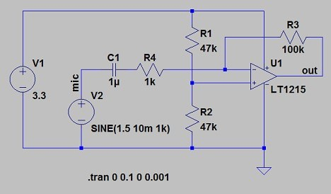 Op-amp based electret microphone preamplifier ltspice