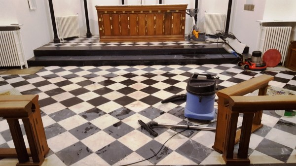 Marble Church Floor During Renovation Ely