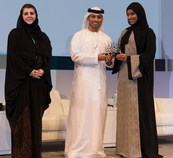 Alia AlHazami (on the right) receiving the Mubadala Youth Award (Picture Provided by Mubadala)