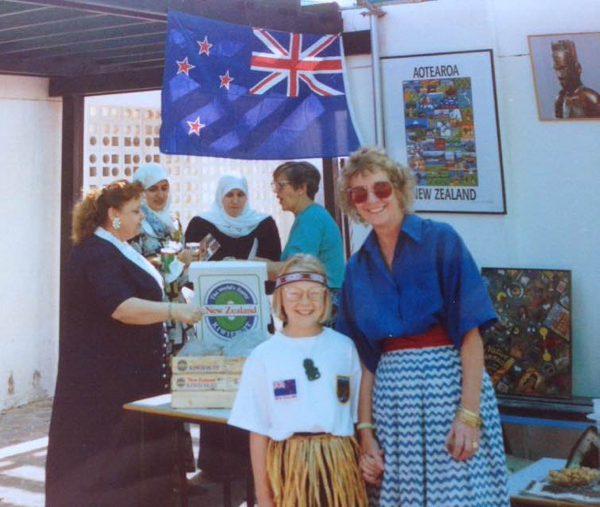 At Anna's New Zealand stand at the International Day at Emirates International School in mid 1990s.